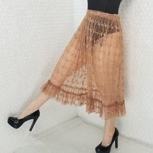 Free People sheer tulle floral midi skirt
